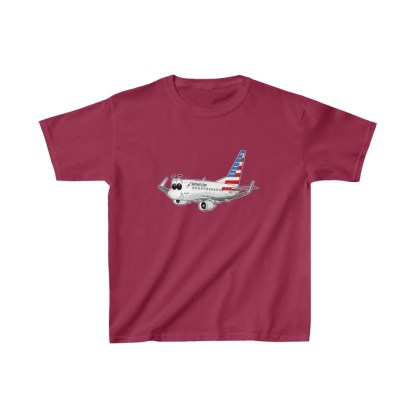 airplaneTees American Airlines Smiley 737 Youth Tee... Kids Heavy Cotton™ 11