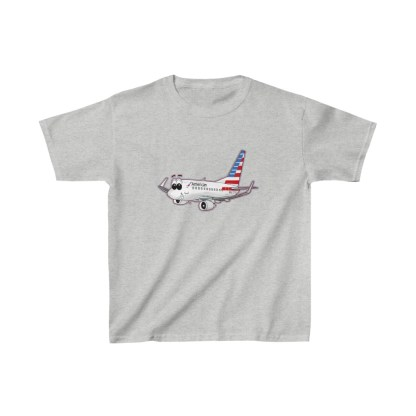 airplaneTees American Airlines Smiley 737 Youth Tee... Kids Heavy Cotton™ 6