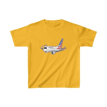 airplaneTees American Airlines Smiley 737 Youth Tee... Kids Heavy Cotton™ 5