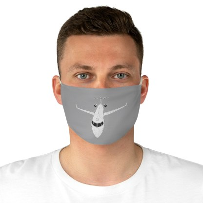 airplaneTees CRJ Face Mask - Line drawing, Fabric 1