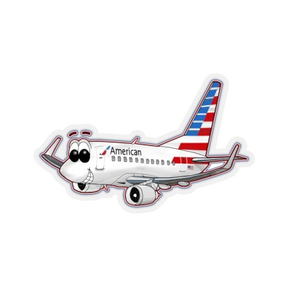 airplaneTees American Airlines 737 Smiles Kiss-Cut Sticker 11