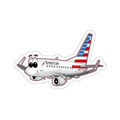airplaneTees American Airlines 737 Smiles Kiss-Cut Sticker 15