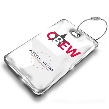 airplaneTees Republic Airline Logo Portrait Luggage Tag 1