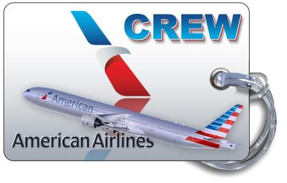 airplaneTees American Airlines B777-300 Luggage Tag - Landscape 4