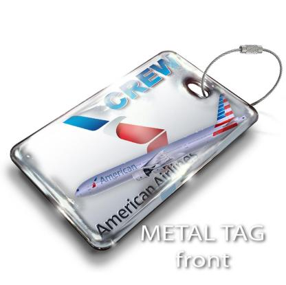 airplaneTees American Airlines B777-300 Luggage Tag - Landscape 1