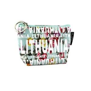 Gėlėta monetų piniginė LITHUANIA melsva