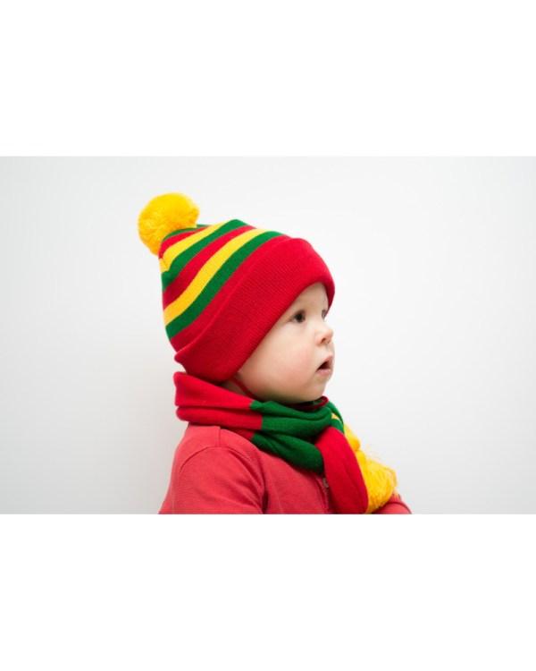 Vaikiška užrišama trispalvė kepurė