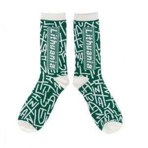 Vyriškos kojinės LITHUANIA žalia/balta