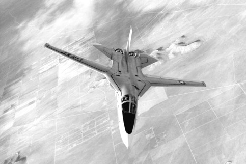 F-111A (likely 63-9768 or 63-9771), in flight with her wings forward. (USAF photo # 080219-F-1234S-006)