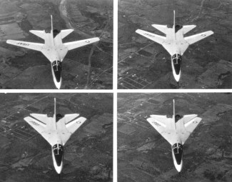 A quartet of shots showing the F-111A wing sweep sequence, from 16º to 72.5º. (USAF Photo via Wikipedia)