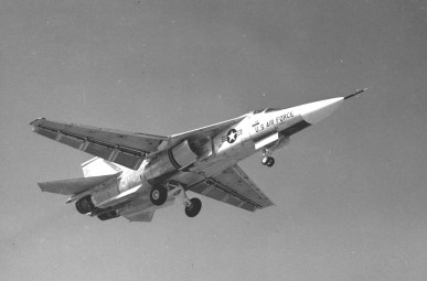 One of the pre-production F-111As on approach to Carswell AFB, TX in late 1964 or early 1965. This aircraft has the early intake design that caused no end of flow trouble and two extensive redesigns called Triple Plow I and II. (USAF Photo # 061003-F-1234S-013)