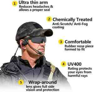XAegis Tactical Eyewear 3 Interchangeable Lenses, Outdoor Antifog Safety Glasses & Hard Shell Case