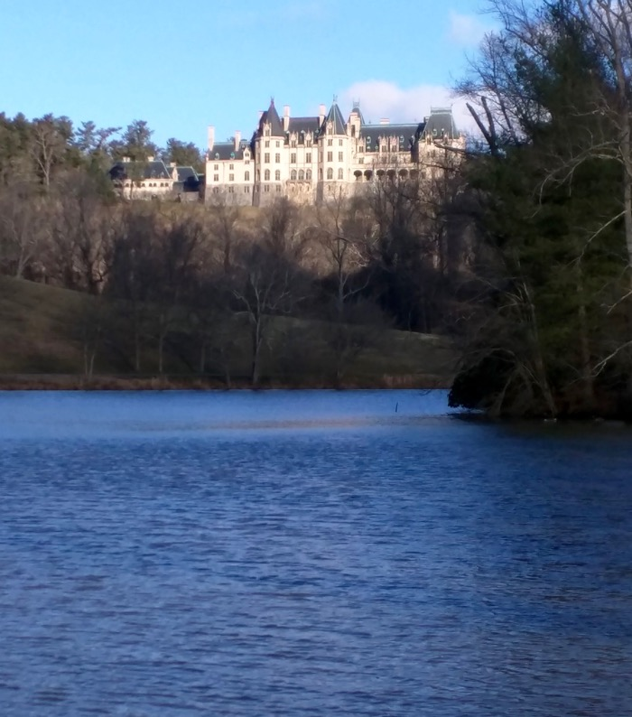 view of biltmore from the lagoon trail