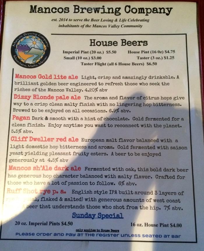 mancos beer list