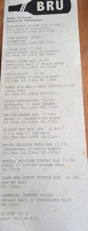 bru beer list