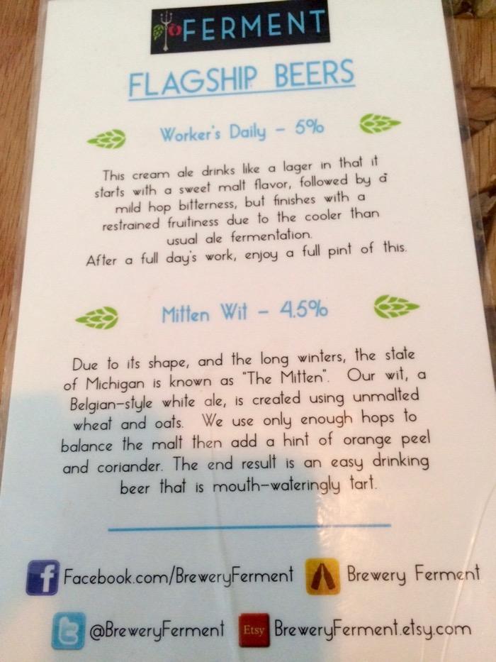 brewery ferment beer list
