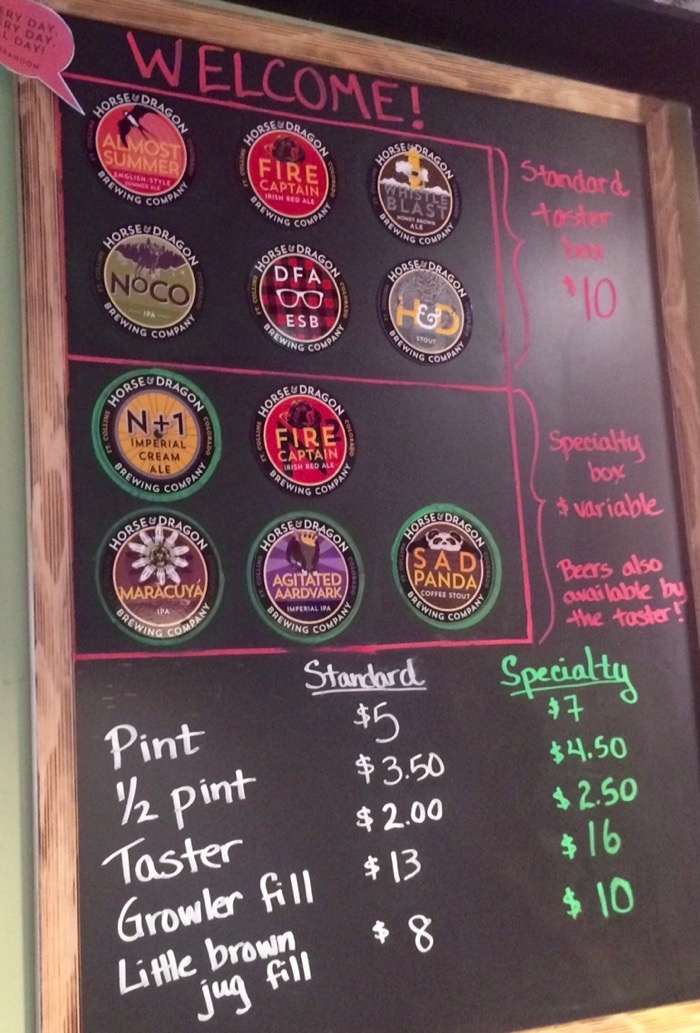 horse and dragon ft collins beer list