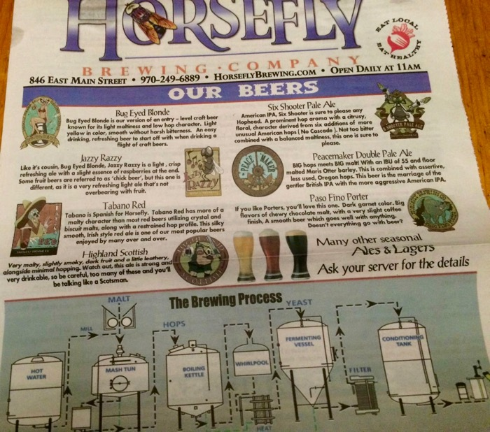 horsefly brewing menu