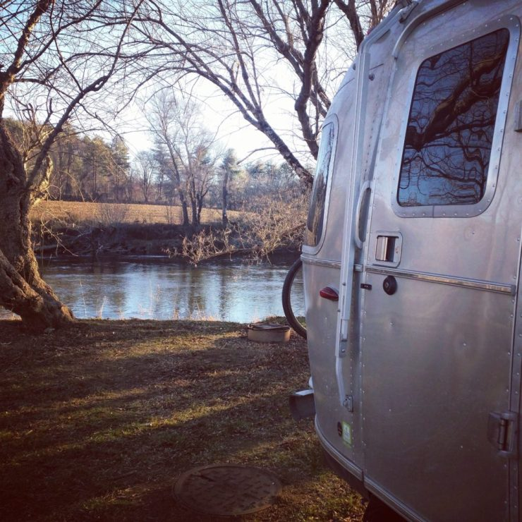 airstream by french broad river