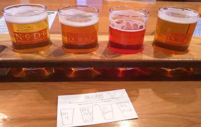 flight at noda brewing in charlotte