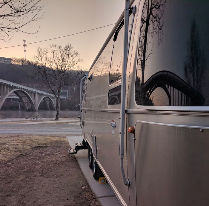 branson bridge reflected in airstream window