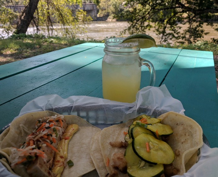 White Duck Tacos by the river
