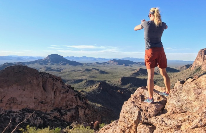 hiking to arch canyon overlook in organ pipe