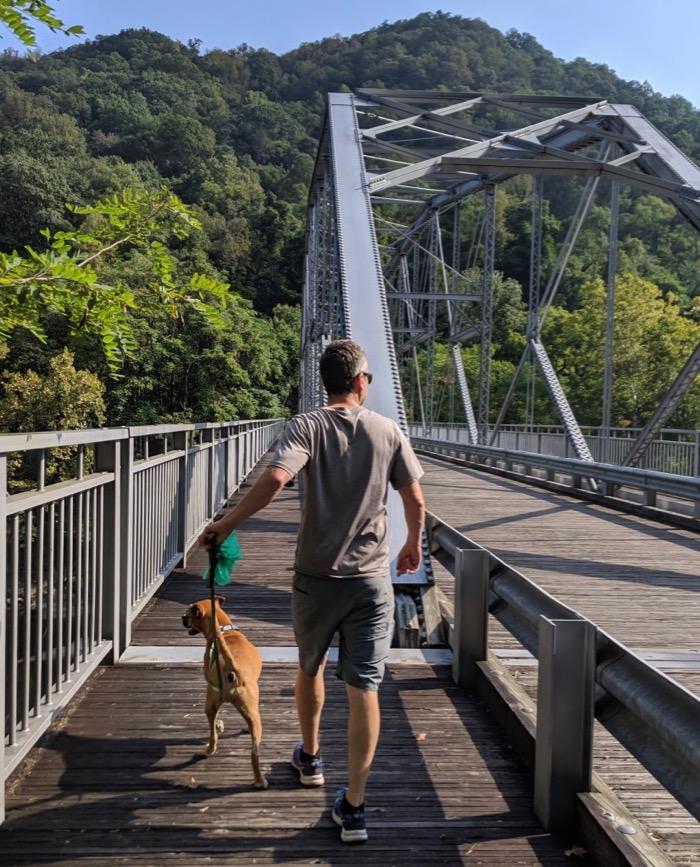 crossing the old New River bridge