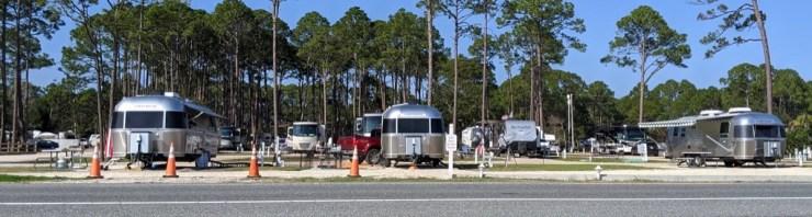 three Airstreams in a row at Coastal RV Campground