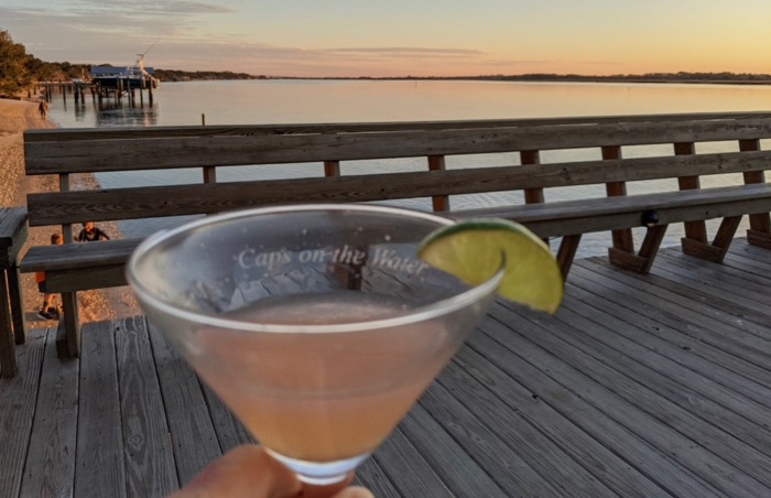 sunset cocktail at Cap's on the Water in Vilano Beach