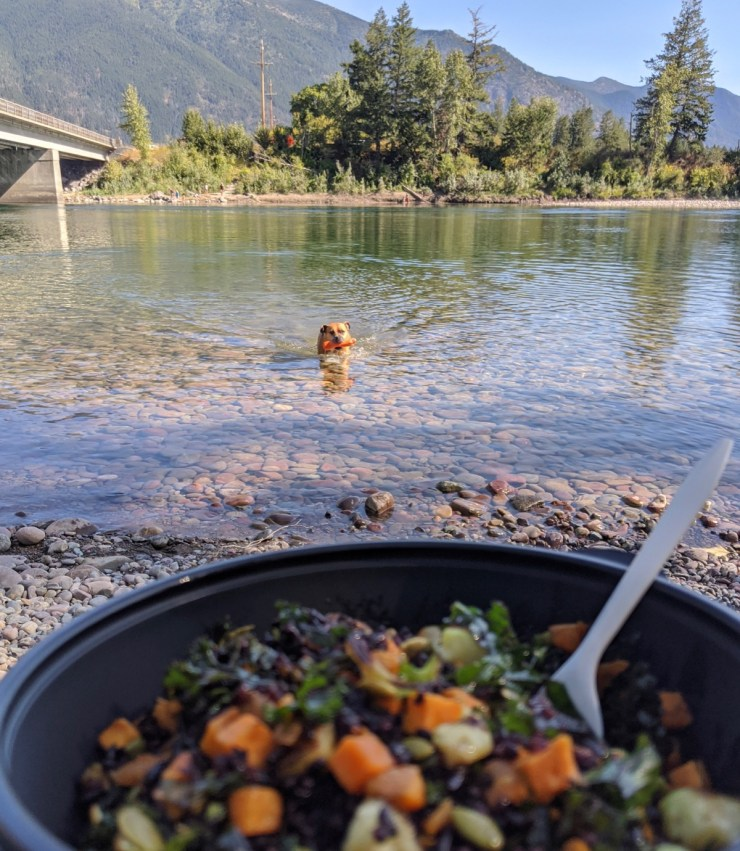 picnic along the Flathead River in Columbia Falls with food from Backslope Brewing