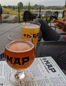 beers on the patio at MAP brewing