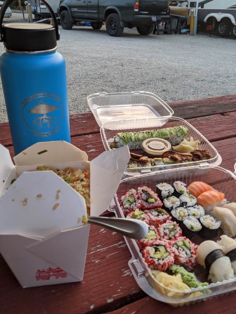 sushi at the campground in Hamilton