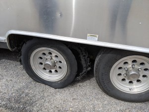 exploded tire on the Airstream