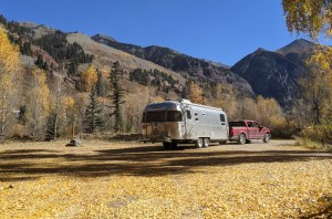 the Airstream leaving the campground in Telluride
