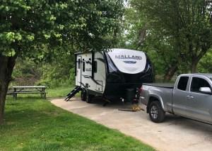 rental RV parked at Wilson's Riverfront RV Resort