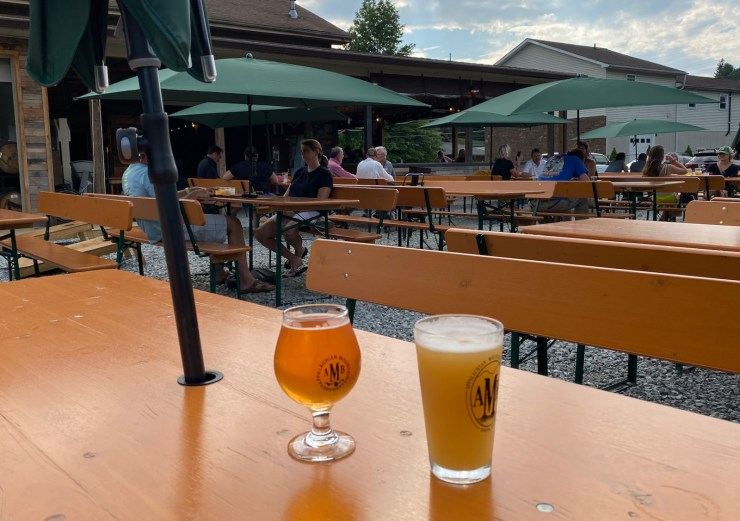 beers on the patio at Appalachian Mountain Brewing