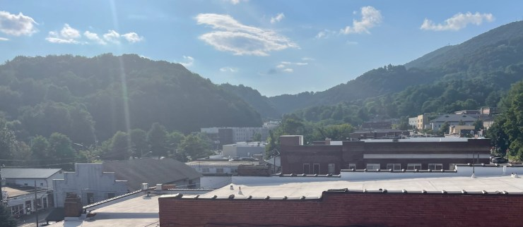 the view from the rooftop bar at Horton Hotel in Boone