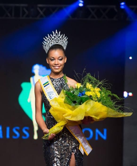 18 Year Old Reine Nogotala Crowned Miss Gabon 2015 - Holds Flowers