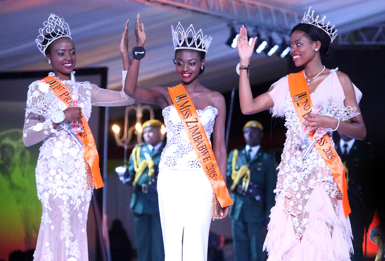 Anne Grace Mutambu [LEFT], the First Princess Replaces Emily Kachote [CENTRE] as Miss Zimbabwe 2015.Emily Was Stripped of Her Crown After Her Nude Photos Were Leaked on Whatsapp