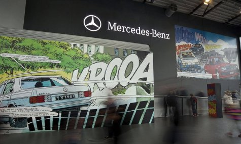 Eine der wechselnden Austellungen in der Mercedes Benz Halle im Europapark