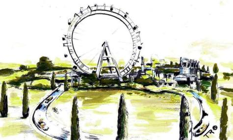 Wahlmöglichkeit 1: Riesenrad mit angrenzender Wasserbahn für ein größeres Familienangebot? (anklicken zum vergrößern)