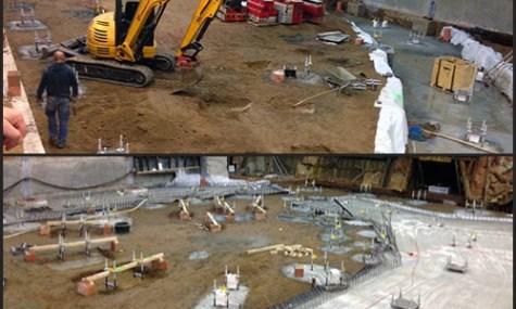Auf Grund dieser Boden- und Betonarbeiten stützt sich das spekulative Bahnlayout (anklicken zum vergrößern)