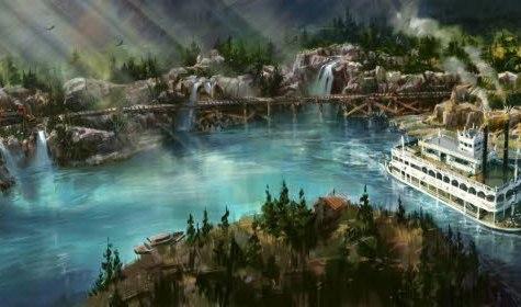 Panoramaidylle: Eisenbahn über Brücken und Dampfschifffahrt vorbei an Indianern (anklicken für volle Auflösung)
