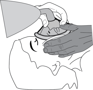 Illustration of using your helper to assist in sealing the mask.
