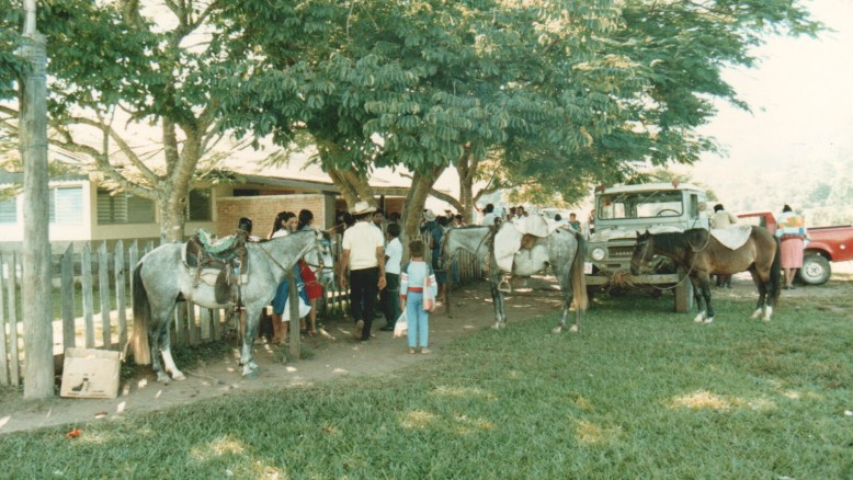 Honduran missionary hospital 1986. Many patients arrived by horseback