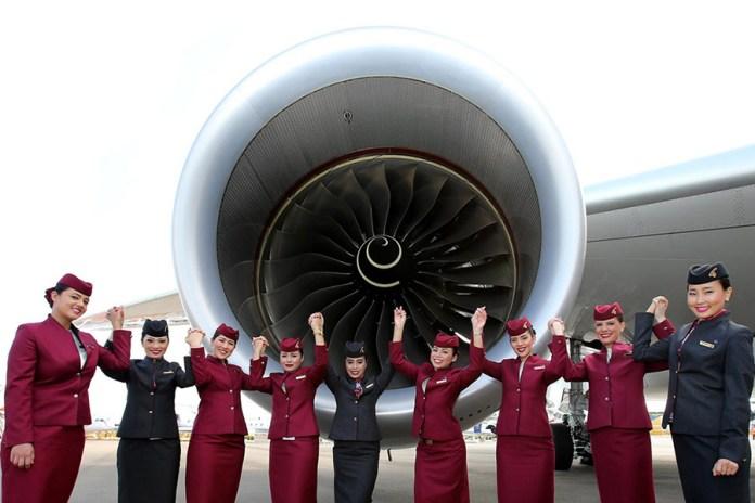 Part of the Qatar Airways crew present at the Singapore Airshow. (Credits: Qatar Airways)