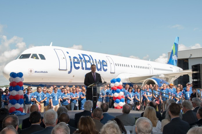 Robin Hayes, JetBlue's CEO with the airline's most recent acquisition. (Credits: Airbus)