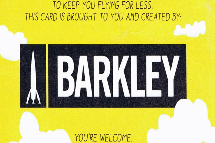 The airline's business cards were designed and paid for by Barkley Advertising, which is promoted on the backside of every card. (Credits: Author)