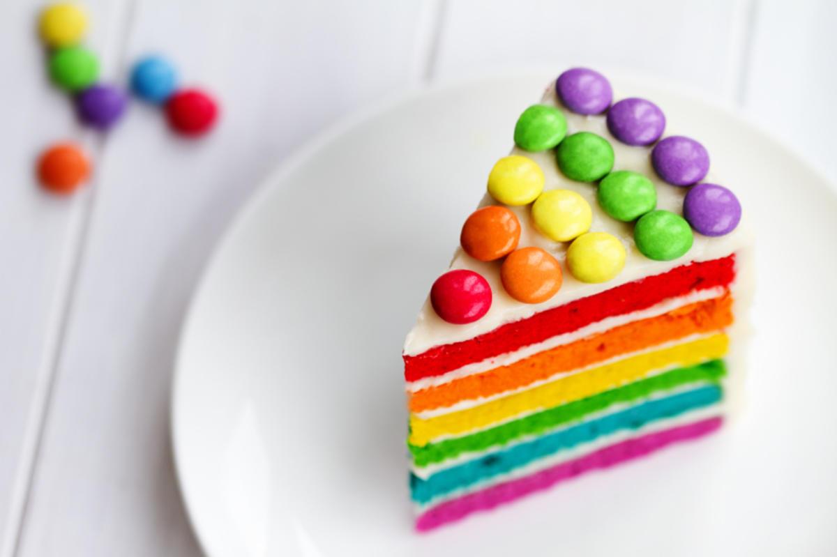 Eine Torte Bunt Wie Ein Regenbogen